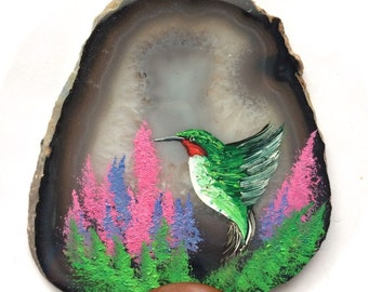 Hand Painted Brazilian Agate Natural Hummingbird