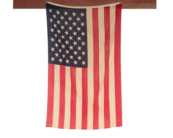 Vintage American Flag / 1950's / Original Cotton 50 Star American Flag