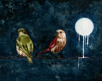 """Art Print // Two birds on a wire // """"Our silence""""."""