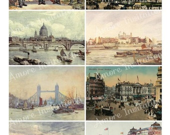 Printable Vintage London England Digital Collage Sheet - ATC - JPEG - PDF - Instant Download - Downloadable - Commercial use / Cu use ok