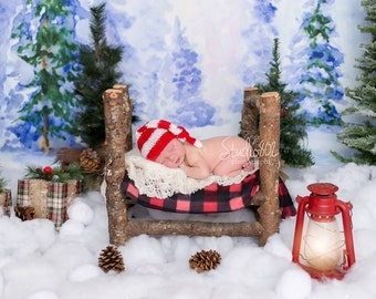 Newborn Baby Christmas Elf Hat Baby Holiday Costume Baby Elf Outfit Christmas Photo Prop Holiday Prop Santa Elf Stocking Hat