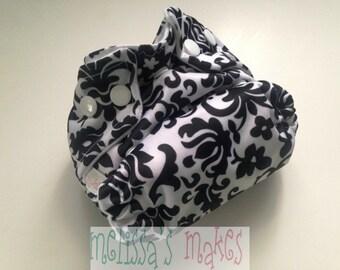 Tulip Damask - Newborn Diaper - Newborn Cloth Diaper - Newborn Nappie - Baby Shower Gift - New Mom Gift - AIO Diaper - First Baby Gift