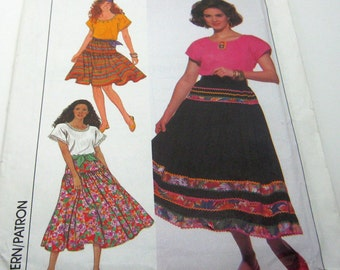 Sewing Pattern-Simplicity 9624 Boho  Skirt including Blouse Size 6-26 1990's