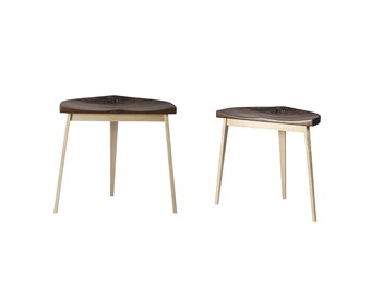 Set of Two Walnut and Maple Stools