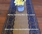 Rustic Country Charm Wedding Burlap and Navy Blue Lace Table Runner for a Rustic wedding, Shabby Chic table runner Bridal shower party event