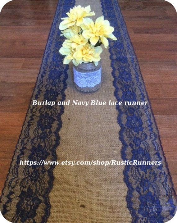 Description. These Beautiful Vintage Burlap Runners Are Edged With A Navy  Blue Color Lace ...