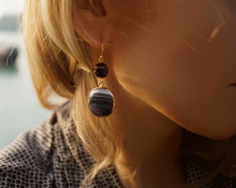 Louise - Chocolate Agate Statement Earrings