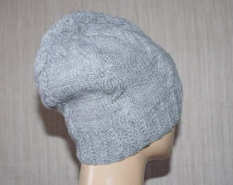 100% Wool Cable Hand Knit Gray Beanie Hat for Men or Women