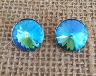 Swarovski Glacier Blue Stud Earrings