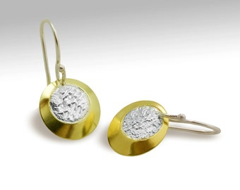 30% off Sterling Silver 18 karat gold bimetal earrings with reticulated centers - ready to ship