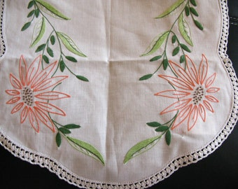 Embroidered Dresser Scarf With Flowers