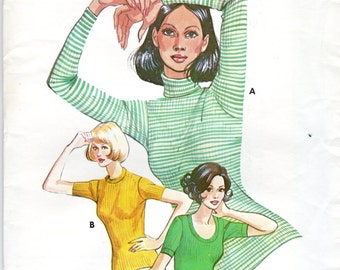 1980s Women's Turtleneck, T-Shirt Pattern- Size 6 to 18 - Kwik Sew 601 uncut; for Tubular Ribbing Only