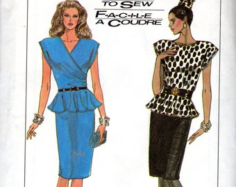 "Easy 1980s Women's Fitted, Peplum Dress Pattern - Size 8, 10, 12, Bust 31 1/2"", 32 1/2"", 34"" - Simplicity 8120"