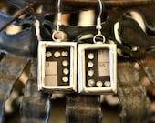 STEAMPUNK Industrial Earrings Crossword Puzzle Rhinestone Soldered Silver Glass Bling 4
