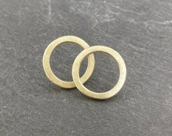 Little Circles - solid 9ct 9k gold stud post earrings, UK, custom made, hand made