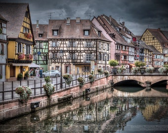 Fairytale Alsace village, famous town Colmar, small medieval village, art photo print small, very large, HDR dreamy fantastic print, France