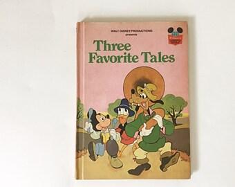 Vintage Disney's Wonderful World of Reading Children's Book, Three Favorite Tales, Walt Disney Productions Book Club Edition 1975 RandomHous