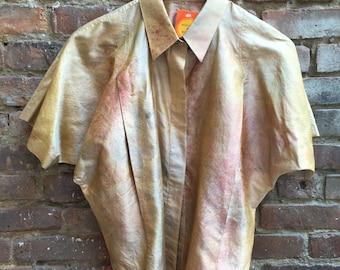 VINTAGE 1980's Silk Watercolor Dolman Sleeve Blouse