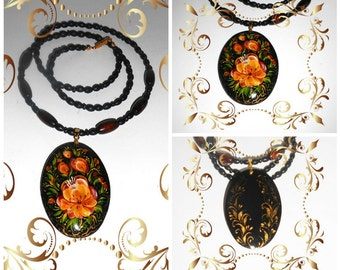 Pendant in the the Russian folk style in handmade oval