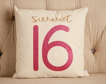 "Sweet Sixteen Pillow Cover, Girls Room, 16x16 or 18x18"" Glitter Finish"