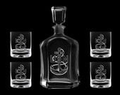 Personalized whiskey decanter set USN US Navy chief cpo scpo mcpo retirement promotion sponsor gift