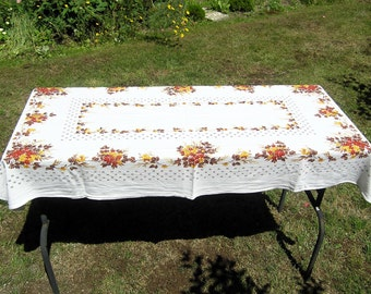 Vintage Autumn Tablecloth, Mid Century Red Brown Yellow Floral Tablecloth, Retro Thanksgiving Cotton Tablecloth, Vintage Autumn Table Linens