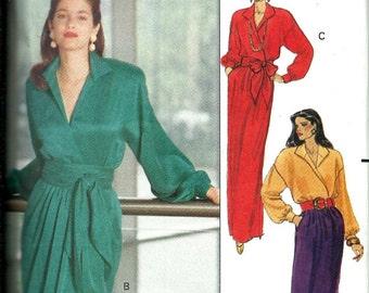 Butterick 5093 Ronnie Heller/MJ Misses Mock Wrap Dress W/Sash Pattern,  Size 6-8-10, UNCUT