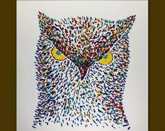 Oil painting Owl bird