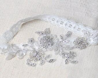 Silver garter, wedding garter, bridal garter, blue lace garter, wedding garter, sequin garter