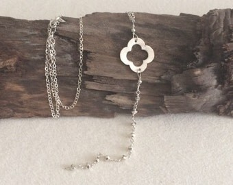 Silver, Quatrefoil, Beaded, Lariat Necklace
