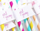 Girl Gang Paper Straws with Flags/ girl boss/ party straws/ stagette/ bachelorette/ boss babe/ birthday party/ bridal shower