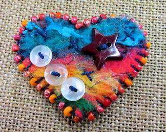 Fiber Art Heart Brooch