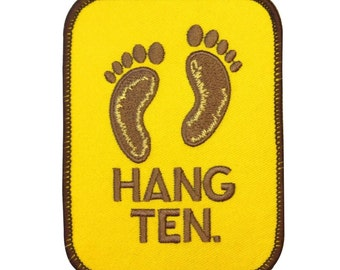 "Sandy Beach Footprints ""Hang Ten"" Patch Ocean Surfing Apparel Iron-On Applique"