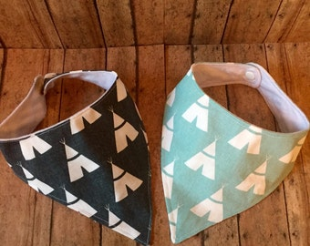 TWO Baby Bandana Bib Bibdana Scarf in Teal and Grey Teepees Canvas & Flannel with Snap Closure for Boy or Girl