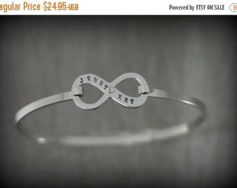 20% OFF - Personalized Infinity Bangle Bracelet - Engraved Infinity Bracelet - Friendship Bracelet