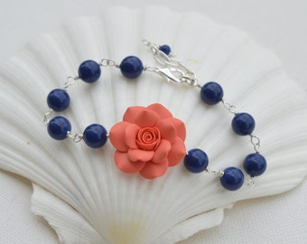 Coral Orange Rose and Dark Blue Swarovski Pearls Link Necklace. Coral and Blue Bridesmaid Bracelets.