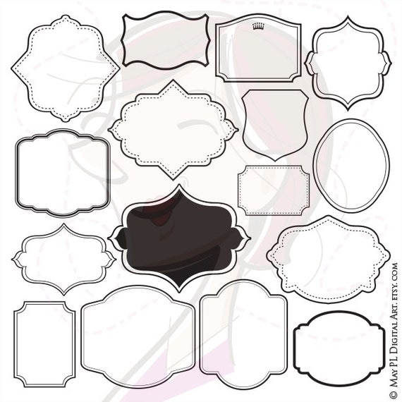 Simple Shape Frames Label Tags Clipart Digital Download Commercial Use Scrapbook Craft Supply Unique Frames Eps Jpeg Png Images 10199