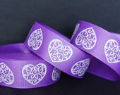 "10Yd White Curly Glitter Heart 7/8"" Purple Grosgrain Ribbon Craft/Bow"