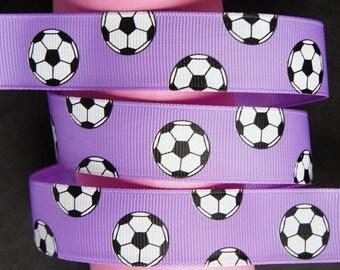 """10Yd Sports Soccer 7/8"""" Lilac Grosgrain Ribbon"""