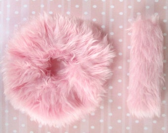 Kawaii Hair Clip, Furry Scrunchie, Pink Fuzzy Scrunchie, Pastel Kawaii Hair Accessories, 1 or Both, Ponytail Holder and French Barrette