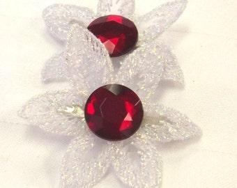 SALE, Organza Crystal Hair Clips - Flower Hair Accessory - Hair Barrettes Flower - Christmas Hair Accent