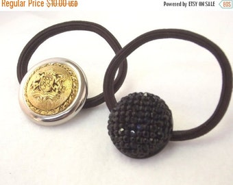 SALE, Vintage Button Ponytail Holder - Retro Hair Accessory - Button Hair Elastic