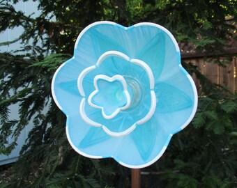 Glass Flower Garden Art Hand Painted in Blue - Garden Decor - Garden Sculpture - Suncatcher - Lawn Ornament