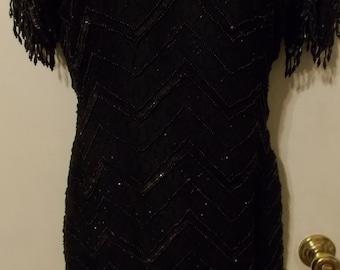 Robert Anthony Black Sequin & Bead Dress