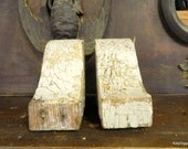 Small PAIR of Antique porch corbels, Rustic shelf bracket,Authentic, Historic porch gingerbread