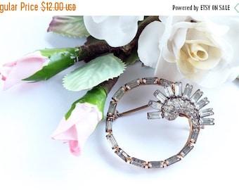 Vintage Rhinestone Dedo Round Pin Brooch Pendant , Wedding Pin Jewelry Bridal