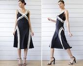 Vintage black silk ivory color block stripe sleeveless over the knee evening midi dress L