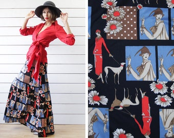 70s Vintage black young Parisienne girl print flared A-line floor length high waist bohemian maxi skirt XS S