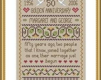 Golden Wedding Cross Stitch Sampler FULL KIT