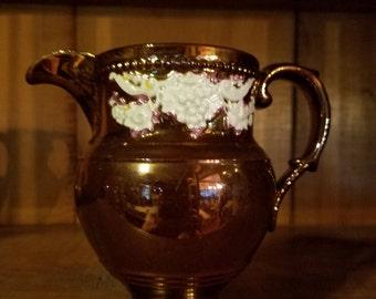 Vintage 1800's English Elegant Design Copper Lustre Pitcher Creamer Jug with Raised Relief White Floral and Grape Details Lustre